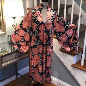 NWT ZARA floral velvet full sleeve dress